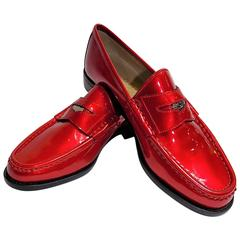 Rare Red Gucci Penny Loafers with Gucci logo penny coin 6 B