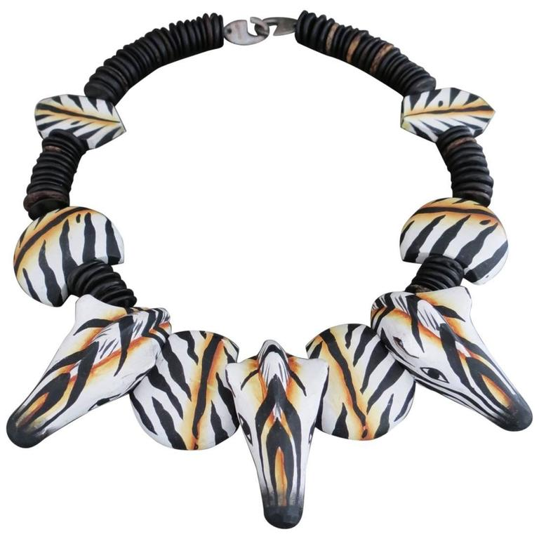 Danish Monies Gerda Lynggaard Zebra Choker Necklace Unique Signed 1