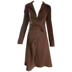 Max Mara 1990s Chocolate Brown Size 8 90s Vintage Flattering Rayon Wrap Dress
