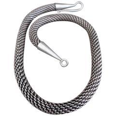 Danish Sterling Silver Snakeskin Choker Modernist Necklace