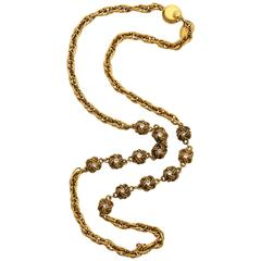 Chanel Gold Nuggets Necklace with Embedded Crystals