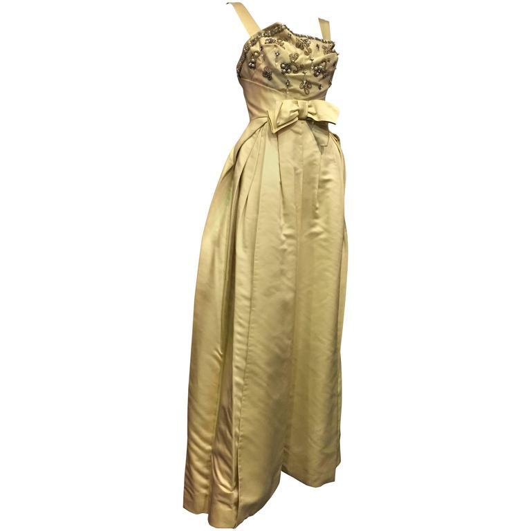 Incredible 1950s Elizabeth Arden Celadon Satin Gown w Beaded Bodice