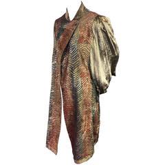 """1980s Venetian """"Fortuny-Style"""" Chevron Painted Velvet Dolman Evening Coat"""