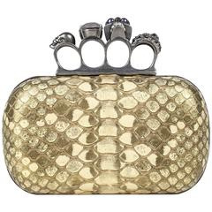 ALEXANDER McQUEEN S/S 2010 Gold Genuine Python Skull Knuckle Duster Box Clutch