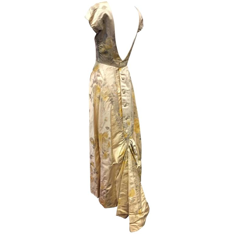 1950s James Galanos Golden Rose-Patterned Brocade Evening Gown w Train