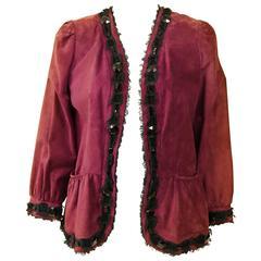 YVES SAINT LAURENT Rive Gauche Maroon Suede Leather Jacket