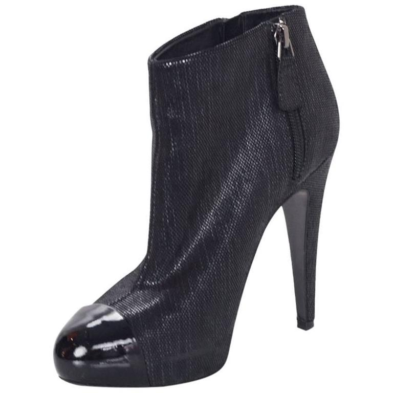 Chanel Black Suede Heeled Bootie  sz 37 For Sale