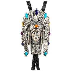 Sterling SILVER CLOUD Turquoise Native American Headdress Bolo Tie Necklace