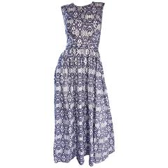 New Zimmermann Grey Lilac and White Ikat Print Chic Cotton Maxi Dress