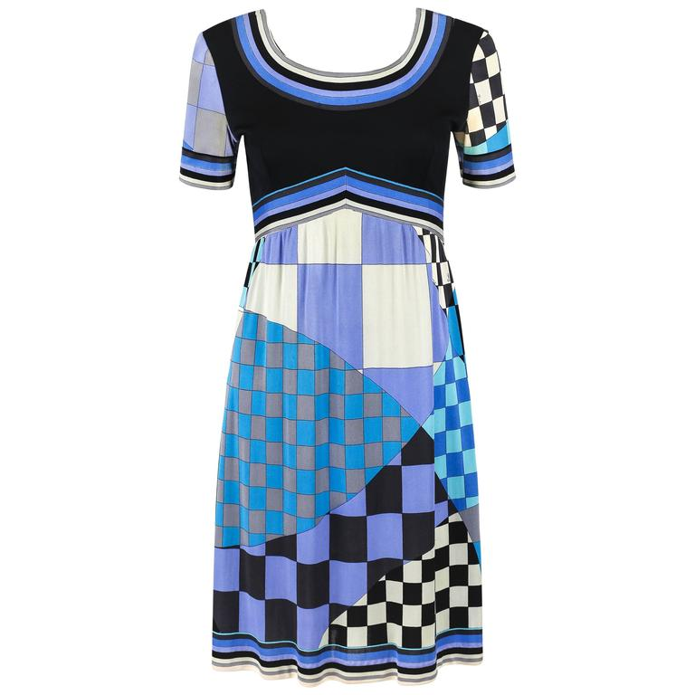 EMILIO PUCCI c.1960's Multicolor Checker Board Signature Print Silk Jersey Dress