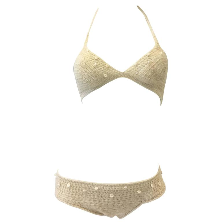 High Tide Swimwear Cotton Crochet and Shell Beaded Bikini, 1970s