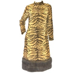 1970s French I. Magnin and Co. Tiger Stripe Print and Mink Trim Cocktail Dress