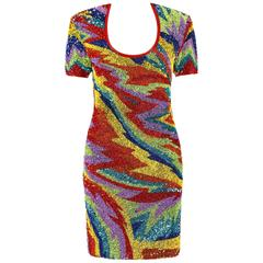 NAEEM KHAN Riazee Nights c.1980's Multicolor Abstract Beaded Sequin Shift Dress