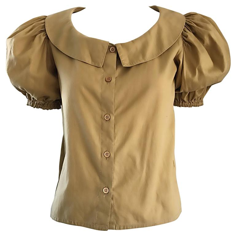 Rare 1970s Willi Smith Khaki Tan Cotton Puff Sleeve Avant Garde Vintage Blouse  1