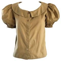 Rare 1970s Willi Smith Khaki Tan Cotton Puff Sleeve Avant Garde Vintage Blouse