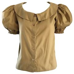 Rare 1970s Willi Smith Khaki Tan Cotton Puff Sleeve Avant Garde Vintage Blouse