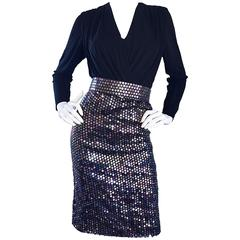 Vintage Louisa Nevins Black Jersey Colorful Sequin 1990s Bodycon Belted Dress