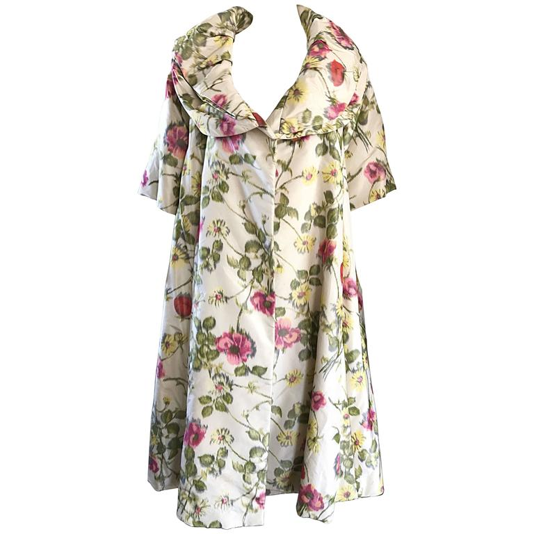 Lillie Rubin Floral Silk Vintage Trapeze Swing Opera Jacket Coat, 1950s  For Sale