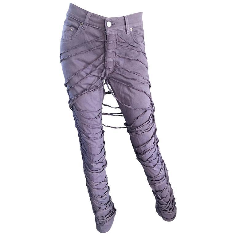 Helmut Lang Mummy Bondage Lilac Grey Unisex Runway Jeans Pants, A/W 2004
