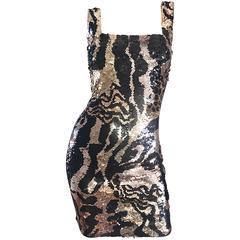 1990s Oleg Cassini Gold Black Rose Gold Sequin Animal Print Bodycon 90s Dress