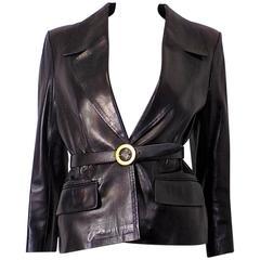Celine leather jacket-blazer with belt
