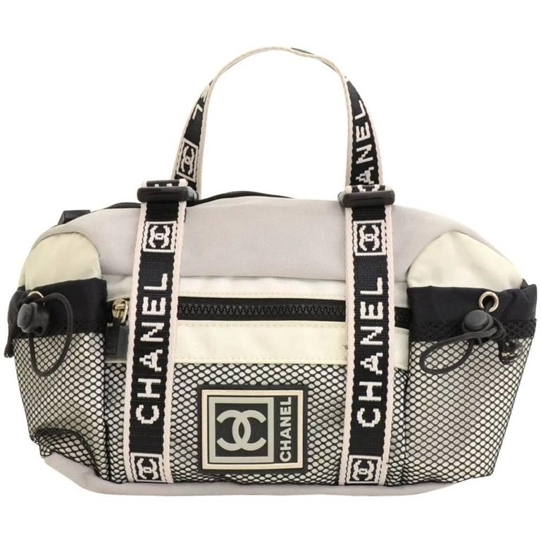 d15e25d5acd4 Top Chanel Sports Line Gray x White Canvas Waist Pouch Bag at 1stdibs QH76