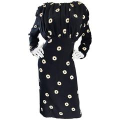 Pauline Trigere For Neiman Marcus Larger Size Vintage Black and White Silk Dress