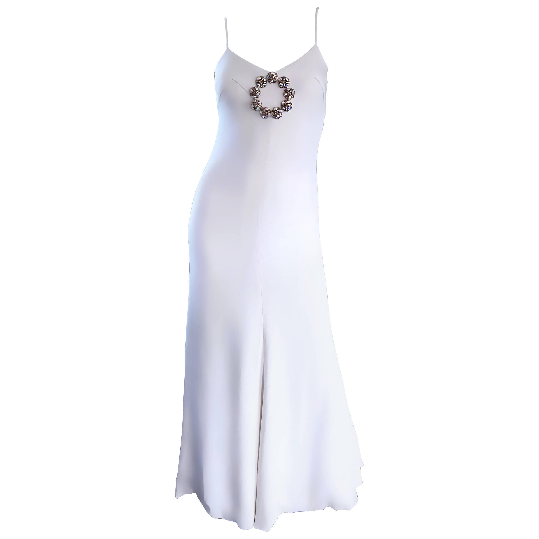 Oscar de la Renta 1970s Exceptional Vintage White Crepe Rhinestone Dress / Gown