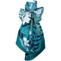 Hermes Silk Scarf Maxi Twilly Flamingo Party Gree Blue 220 cm In Box