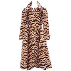 Wild 1970's Count Romi Tiger Print Velveteen Trench Coat