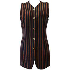Rare Gianni Versace Couture Striped Vest Fall 1993