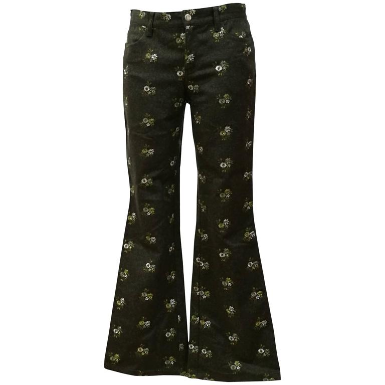 1980s Moschino Jeans Green Flowers embellished Pants For Sale