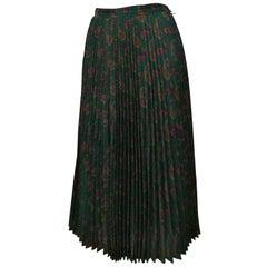 1980s Cacharel Plisset Green Wool Skirt