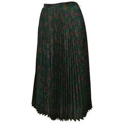 1980s Cacharel Plisset Green Wool Skirt