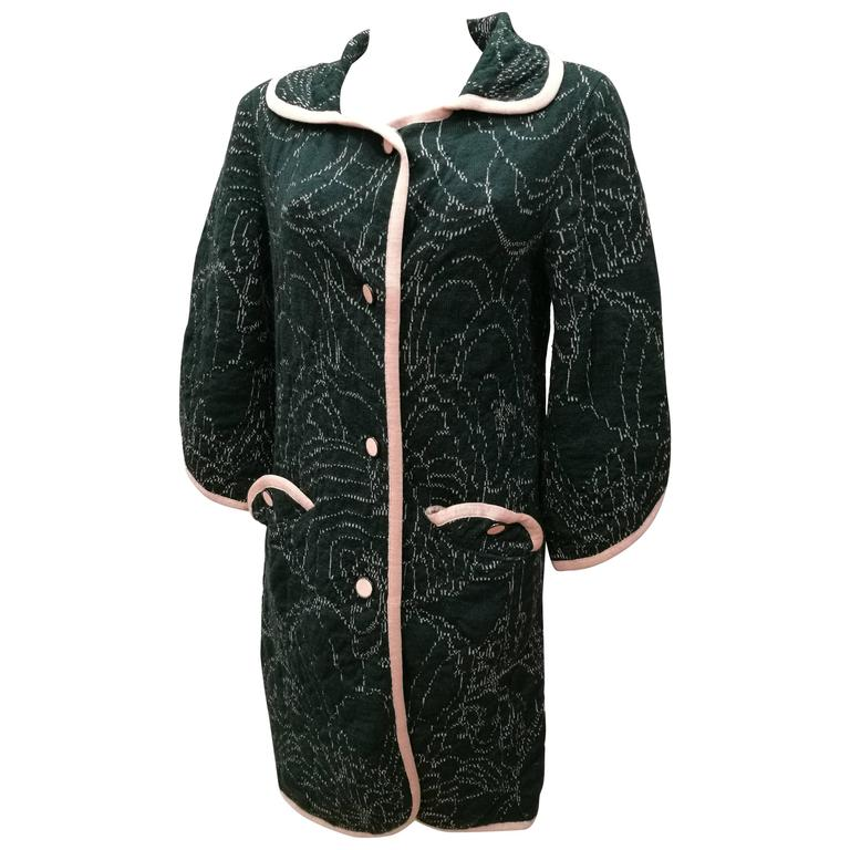 M by Missoni Green Pink Wool Coat