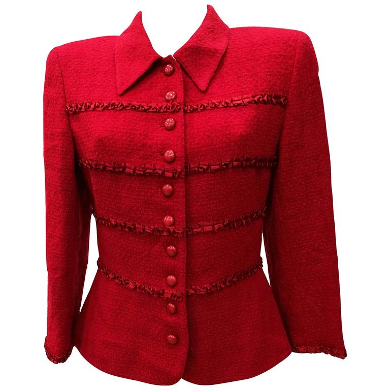 289044d1c 1980s Valentino Miss V. Red Wool Jacket