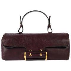GIVENCHY c.2007 Plum Leather East-West Buckle Front Satchel Handbag Purse