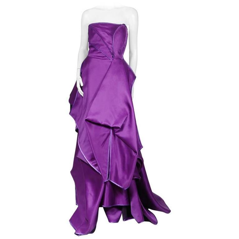 Christian Lacroix Purple Silk Gown with Purple Fur circa 1980s