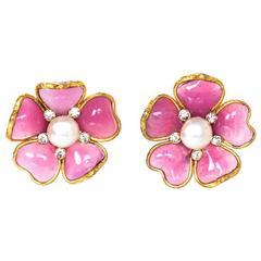 Chanel Pink Gripoix Flower Clip On Earrings