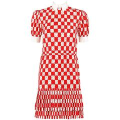 BILL BLASS c.1980's Red White Checkboard Polka Dot Print Silk Shirtwaist Dress