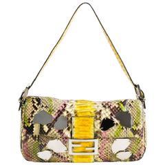 Fendi Limited Edition Multicolor Python Leather Mirrors Baguette Handbag