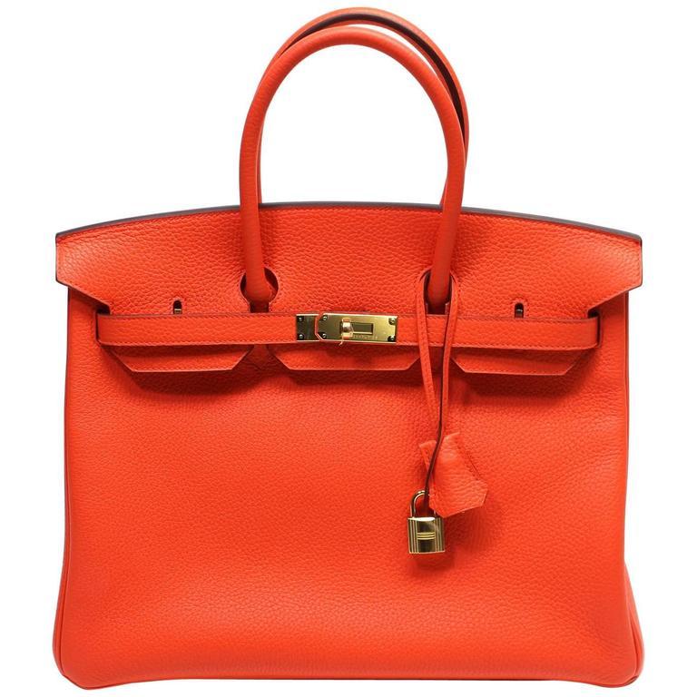 Hermès 35 cm Orange Poppy Birkin Bag- Togo Leather with GHW 1