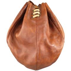 LEVI'S VINTAGE Tan Leather Drawstring Boxer Bag