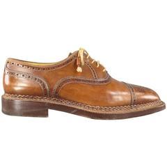 Men's STEFANOBI Size 12 Tan Leather Wingtip Square Cap Toe Lace Up