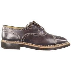 Men's STEFANOBI Size 12 Dark Brown Leather Square Wingtip Cap Toe Lace Up