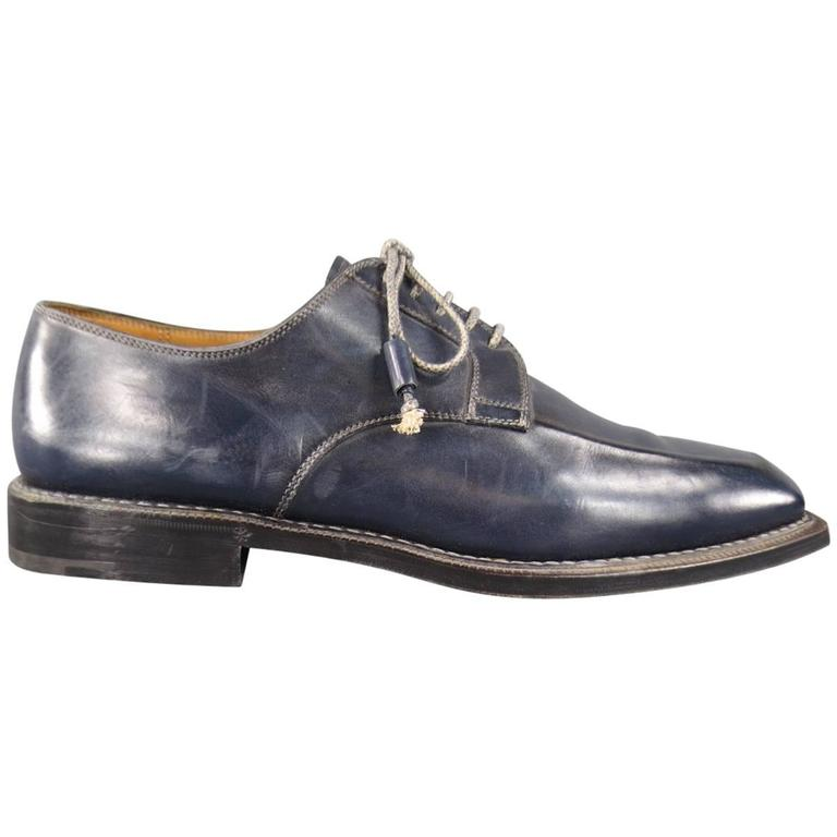s stefanobi size 12 navy leather square toe lace up
