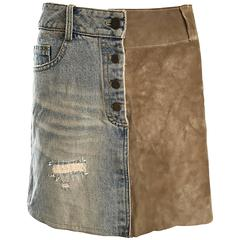 1990s Dolce and Gabbana Denim + Suede Leather 90s Vintage Distressed Mini Skirt