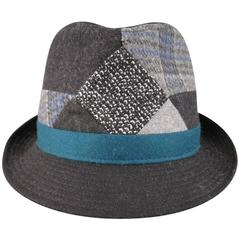 ETRO Charcoal Teal & Gray Wool Plaid Patchwork Fedora Hat