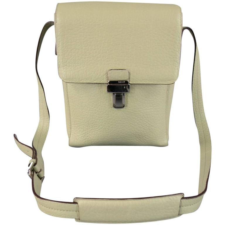 290f2b57a0 BALLY Mint Green Beige Textured Leather Cross Silver Buckle Body Bags For  Sale