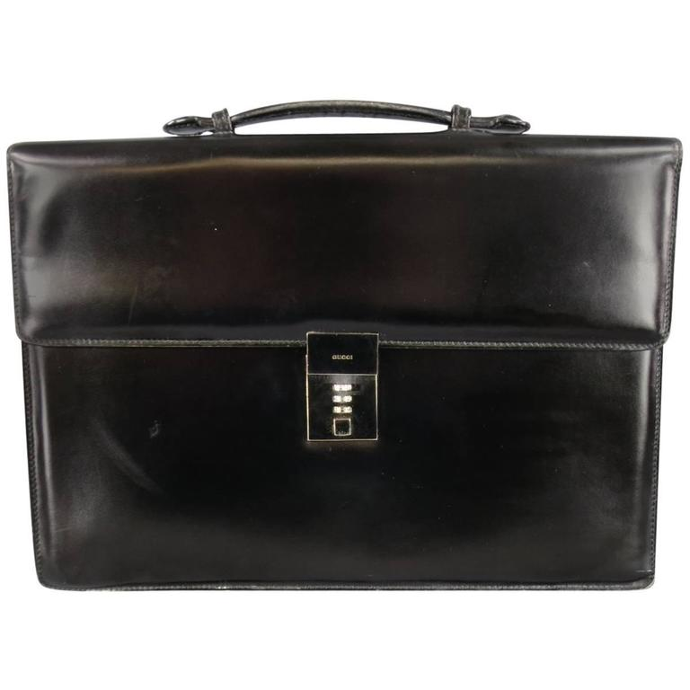 GUCCI Black Leather Top Handle Silver Combination Lock Briefcase
